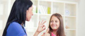 ASL teacher with girl