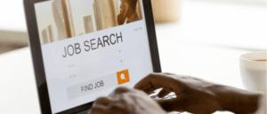 man browsing work opportunities online using job search computer app